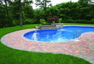 This pool deck is paved with Nicolock's Country pavers with their Autumn color blend. Nicolock uses Davis Colors concrete pigments to make their custom color blends.